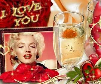 Karten in der Liebe mit dem Text I LOVE YOU. Hintergrund mit Rosen und einem Glas Champagner.