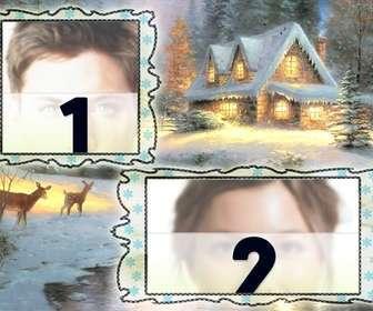 weihnachtskarte laden wo man zwei bilder verschneiten dorf hintergrund und ein reh stellen konnen