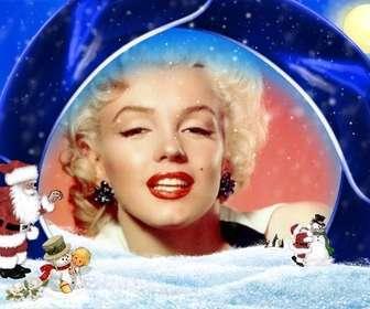 Weihnachtskarte blauem Hintergrund und Schnee, in dem Ihr Bild einzufügen, sind Santa Claus, ein Junge und Schneemänner.
