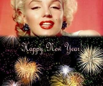 Weihnachtskarte begrüßten wir das neue Jahr in englischer Sprache. Wir können eine Foto auf einem Nachthimmel voller Feuerwerk.
