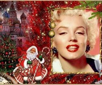 Eleganter Fotomontage von Weihnachten und Santa Claus Ihr Bild hinzufügen