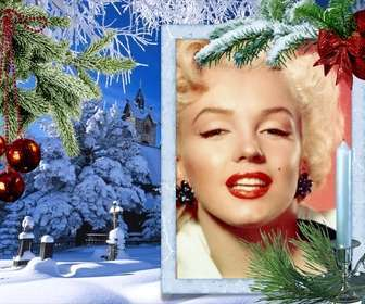 Weihnachtskarte mit Ihrem Foto auf einem weißen rechteckigen Rahmen.
