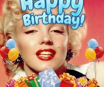 Fotomontage zu machen Ihr Foto zum Geburtstag. Die Zusammensetzung Ihnen alles Gute zum Geburtstag in blau. Die Karte ist mit bunten Luftballons und Geschenken geschmückt.