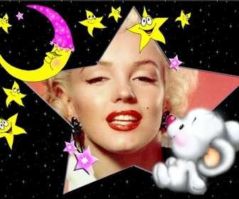 Kinder-Bilderrahmen, Bear Schlafen mit dem Mond und Sternen.