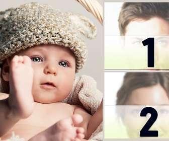 Rahmen für zwei Fotos mit einer schönen Baby, um eine Schwangerschaft zu verkünden.