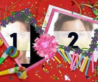 Rahmen für zwei Bilder mit Motiven aus der Geburtstagsfeier, rotem Hintergrund mit Kerzen, töten-in-law und Luftschlangen und Konfetti.