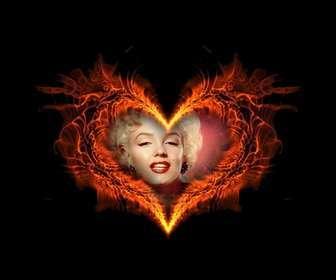 Bilderrahmen in Herzform brennenden wo Sie Ihren Hintergrund photo setzen können.