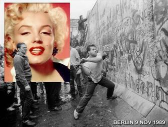 Fotomontage der Fall der Berliner Mauer im Jahr 1989 zu deinem Bild neben dem Bild zu setzen.