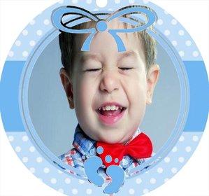 Circular blauen Rahmen perfekt, um ein Foto von einem Baby hinzu