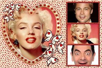 Liebe Collage mit 4 Bilder und ein Herz als Hauptbild.