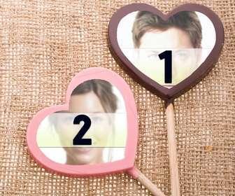 Collage der Liebe zu zwei Fotos in Farbe Schokolade Lutscher zu platzieren.