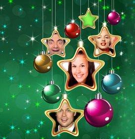 Collage von Weihnachtsstern vier Fotos hochzuladen