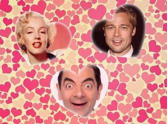 Collage der Liebe mit drei Herzen drei Bilder