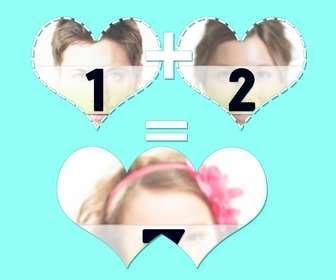 Collage für drei Schüsse mit zwei Herzen Verbindungs-und Zusammen Ergebnis.