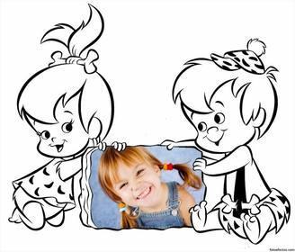 Foto Effekt für Kinder mit Kiesel und Bam-Bam von Familie Feuerstein