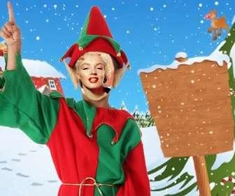 Fotomontage und Elf Plakat als Weihnachtskarte zu senden.