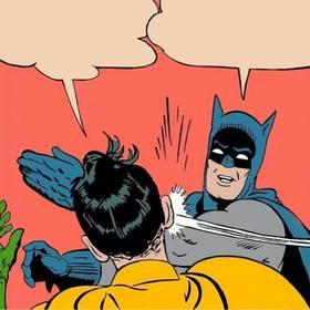 Schöpfer von Fotomontage der Szene, in der Batman ihm einen Klaps auf Robin gibt.