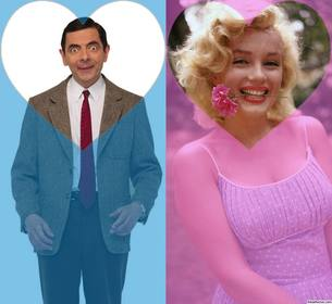Effekt für zwei Fotos und fügen Sie sie in einem rosa und blauen Filter mit Herzen
