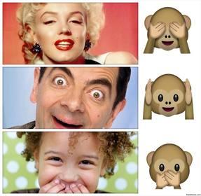 Fotocollage zu bearbeiten und mit der Emoji der drei Affen schmücken