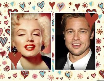 Effekt für zwei Fotos mit dem Hintergrund der vielen Herzen