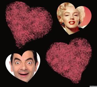 Foto-Effekt mit zwei Herzen gefärbt, wo Sie zwei Bilder hochladen