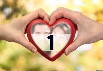 Fotoeffekt von zwei Händen mit einem Herzen für Ihr Foto.