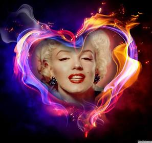 Fotoeffekt eines Herzens auf Feuer laden Sie Ihr Foto