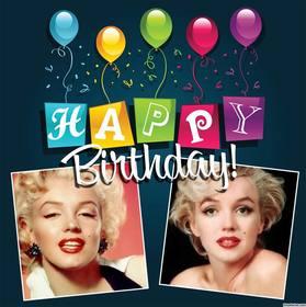 Editierbare Karte mit Luftballons und bunten Text alles Gute zum Geburtstag
