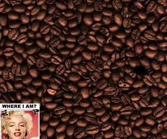 Spiel: Finden Sie das Gesicht in den Kaffeebohnen. Fügen Sie ein Foto, um es zu verstecken.
