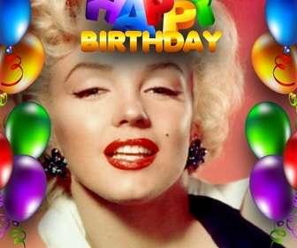 Geburtstagskarte mit Luftballons Rahmen und Text Happy Birthday in farbigen Buchstaben.