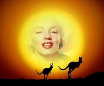 Setzen Sie Ihr Bild im Hintergrund die Sonne in einer Landschaft mit Kängurus springen in den Sonnenuntergang. Einfaches Erstellen von der Zusammensetzung der Redaktion dieser Seite können Sie das Ergebnis speichern oder per E-Mail.