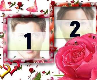Rahmen für zwei Bilder, liebevolle Motive wie Schmetterlinge, Rosen und Herzen. Weißer Hintergrund, vorherrschende Farbe rosa. Als Detail zu erinnern, Termine wie Jubiläen oder Valentinstag, Valentinstag.