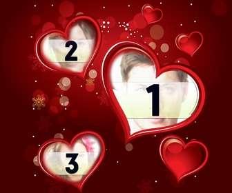 einstellen rot mit einem digitalen foto das in drei herzen erscheint erganzen sie ihr geschenk dieser valentinstag liebe zum detail