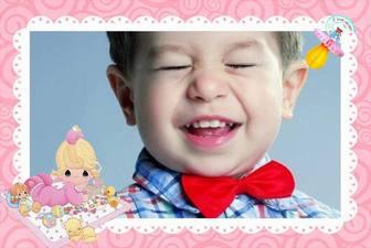 Dekorative Rahmen für Bilder Ihres Babys und Sie können es diese ändern auf Linie Fotomontage eines rosa Rahmen drucken