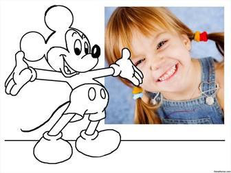 Laden Sie Ihr Foto und malen Mickey Mouse mit diesem Online-Foto-Effekt