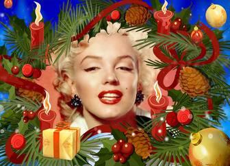 Weihnachtsbilderrahmen mit einer Girlande mit Kerzen