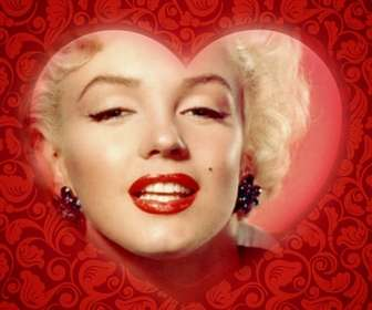 Romantische Karte mit einem Herzen, um Ihr Foto mit einem roten Rahmen zu personalisieren und Text hinzufügen.