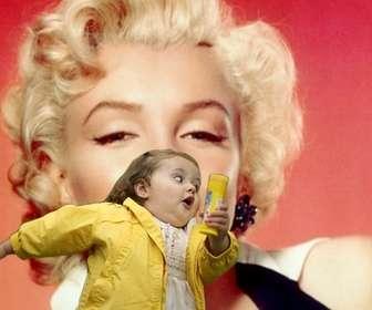 Fotomontage mit der Blase Mädchen im gelben Regenmantel und der modischen meme, wo Sie Ihre Foto und Text.
