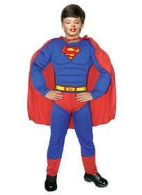 Freie Fotomontage dein Sohn zu verschleiern, wie Superman Ihr Gesicht in einem Superman-Kostüm mit blauen Anzug und roten Umhang Setzen