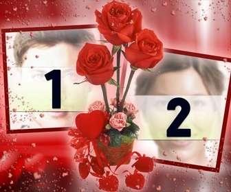 photo frame wo sie zwei bilder die von einigen rosen gebunden erscheinen setzen konnen rotem hintergrund mit herzen