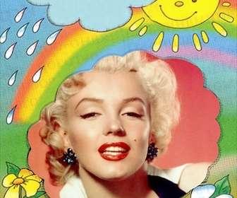 Bilderrahmen mit der Sonne auf dem Hintergrund der aus einer Wolke und des Regenbogens, wo Sie Ihre Bilder setzen können.