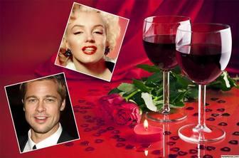 Romantische Liebeskarte mit zwei Gläser Wein kostenlos