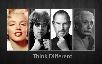 Fotomontage mit John Lennon, Steve Jobs und Albert Einstein. Think different.