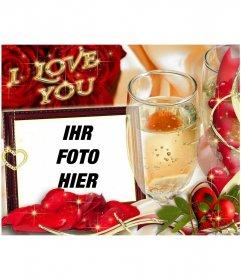 Karten in der Liebe mit dem Text I LOVE YOU. Hintergrund mit Rosen und einem Glas Champagner