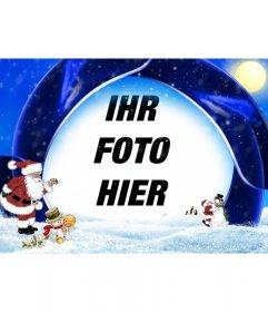 Weihnachtskarte blauem Hintergrund und Schnee, in dem Ihr Bild einzufügen, sind Santa Claus, ein Junge und Schneemänner