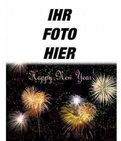 Weihnachtskarte begrüßten wir das neue Jahr in englischer Sprache. Wir können eine Foto auf einem Nachthimmel voller Feuerwerk