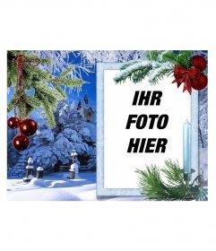 Weihnachtskarte mit Ihrem Foto auf einem weißen rechteckigen Rahmen