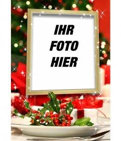 Weihnachtskarte, um ein Bild in einem Goldrahmen mit Glitzereffekt und Weihnachtsdekoration setzen