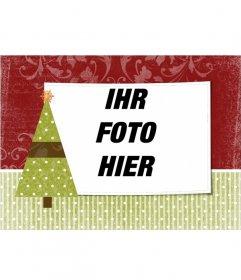 Weihnachtskarte mit einem Foto Ihrer Wahl mit Christbaumschmuck mit einem Sternchen anmelden.