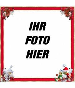Weihnachten Fotorahmen, qith rotem Rand und Weihnachtsschmuck. Sie können es als Gruß zu verwenden